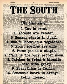 "Vintage Dictionary ""The South"" Print - plus FREE 5x7 monogram. $8.00, via Etsy."