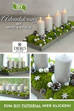 DIY Christmas decoration: pretty advent wreath with moss & balls - DIY advent wreath to make yourself. You can easily implement this elongated Advent arrangement with - Country Christmas Decorations, Christmas Wreaths, Christmas Crafts, Candle Tray, Pillar Candles, Christmas Time, Xmas, Be Natural, Diy Wreath