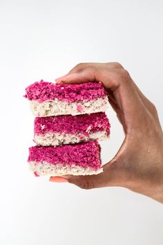 With the silly season just around the corner, I thought it would be appropriate to share a recipe that is delicious, easy to make, and can be taken to upcoming summer BBQ's and parties… Raw Dessert Recipes, Dessert Bars, No Bake Desserts, Raw Food Recipes, Baking Recipes, Coconut Ice Recipe, Coconut Sugar, Sugar Free Sweets, Bliss Balls