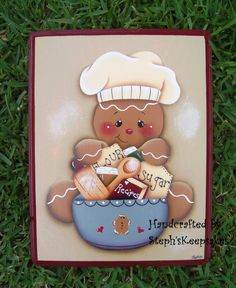 Hand Painted Wooden  Gingerbread Plaque by stephskeepsakes on Etsy