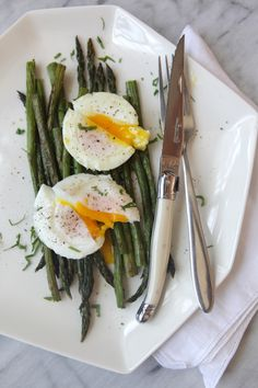 Roasted Asparagus & Poached Eggs  www.petittakett.com