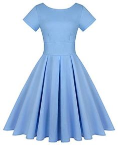 MINTLIMIT Women's Short Sleeve 1950s Retro Vintage Cocktail Swing Dresses (Solid Light Blue,Size M) Homecoming Dresses, Bridesmaid Dresses, Pin Up Dresses, Swing Dress, Retro Vintage, 1950s, Evening Dresses, Party Dress, Light Blue