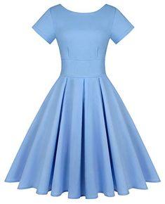 MINTLIMIT Women's Short Sleeve 1950s Retro Vintage Cocktail Swing Dresses (Solid Light Blue,Size M) Pin Up Dresses, Lovely Dresses, Vintage Dresses, Church Dresses, Evening Dresses, Retro Chic, Retro Vintage, Bridesmaids, Bridesmaid Dresses