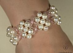 Pearl and crystal braceletB294 by Fleur-de-Irk.deviantart.com on @deviantART
