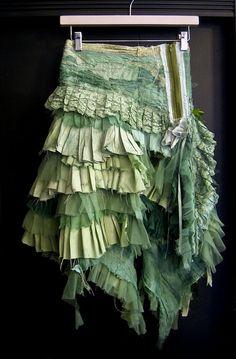 Mint green tattered skirt / Gibbous Fashions