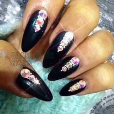 Black Jeweled Nails