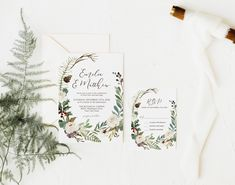Christmas Floral Wedding Invitation Set, Winter Greenery Wedding Invite, RSVP Card, Rustic Wedding Invite Suite, Corjl Editable Template 336 Wedding Shower Decorations, Wedding Welcome Signs, Simple Wedding Invitations, Rustic Wedding, Winter Shower, Wedding Suite, Rsvp, Greenery, Invite