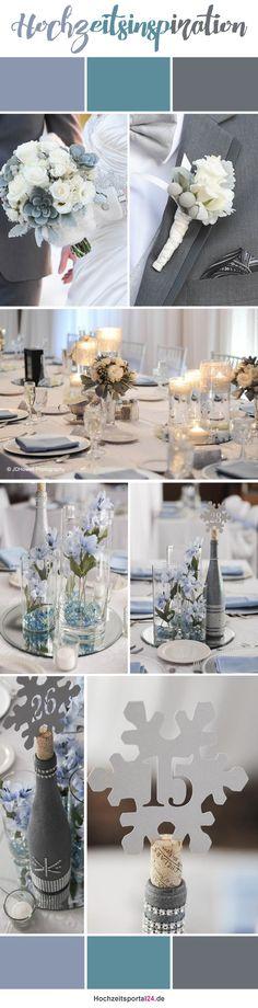 Hochzeitsfarben für die Winterhochzeit: Silber/Grau und Hellblau. Bilder: © JDHowell Photography