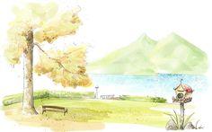 Art Drawing : Romantic Scene of the Seasons  1920*1200   Wallpaper 22