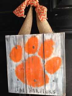 Personalized Family Name Wood Sign Clemson Tigers by Ladizdesigns