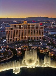 The fountains at theBellagio Hotel offer a spectacular tableau as seen from the Paris Hotel in Las Vegas.