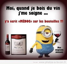 un bon médoc soigne tout Minion Humour, Funny Minion, In Vino Veritas, Minions Quotes, Words Quotes, Funny Photos, Anime Manga, Life Lessons, Funny Jokes