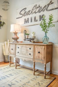 OBSESSED with this sideboard makeover using a wood bleaching technique!