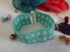 bijoux bracelet manchette peyote bleu