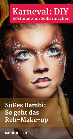 Make up deer: how it works-Reh schminken: So geht's As a tender deer, you have the (stups-) nose ahead in the carnival! With this video you can easily make up the look. Couleur L Oreal, Halloween Make Up, Halloween Face Makeup, Karneval Diy, Diy Beauty, Beauty Hacks, Deer Makeup, Dog Ice Cream, Diy Carnival
