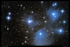 The Pleiades, or Seven Sisters (Messier object 45), is an open star cluster containing middle-aged hot B-type stars located in the constellation of Taurus. It is among the nearest star clusters to Earth and is the cluster most obvious to the naked eye in the night sky.