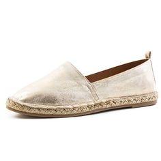 Damen Espadrilles Low Top Sommer Slipper Sneaker Metallic Lederoptik Gold 41