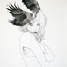 CLARA by Conrad Roset, via Flickr  The wings bother me. I think they are incorporated into the drawing clumsily.