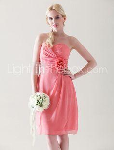 Sheath/ Column Sweetheart Knee-length Chiffon Elastic Woven Satin Bridesmaid Dress. $99.99