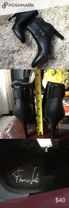Black leather boots by Franco Sarto Used boots but in good condition, please look at pictures there is nothing wrong with these boots. I will be sending this on alternative box , I don't have the original box, so if you like it always make an offer, I know we all want a good deal. Happy Poshing Franco Sarto Shoes Ankle Boots & Booties