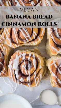 Banana bread cinnamon rolls – these vegan cinnamon buns are a different way to use up brown bananas! Soft, fluffy banana yeast bread with a sweet cinnamon filling; they are great for breakfast, brunch or snacking! Egg and dairy free. Cinnamon Banana Bread, Vegan Cinnamon Rolls, Vegan Banana Bread, Cinnamon Recipes, Banana Bread Recipes, Camp Desserts, Healthy Desserts, Vegan Treats, Vegan Food