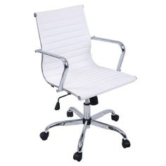 Costway Modern PU Leather Ergonomic Mid Back Office Chair Executive Computer Desk, White