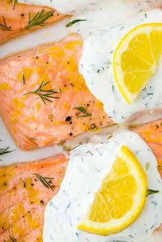Baked Lemon Salmon with Creamy Dill Sauce. Easy, Healthy, and Delicious.