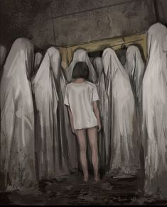Don't Look Before Bed - Creepypasta and Dark Fantasy Style Paintings by Stefan Koidl - Popcorn Horror Creepy Paintings, Creepy Drawings, Dark Art Drawings, Dark Art Paintings, Dark Art Illustrations, Painting Art, Dark Fantasy Art, Arte Horror, Images Terrifiantes