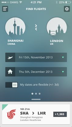 Clean flight booking travel app & translucent background from Real_pixels