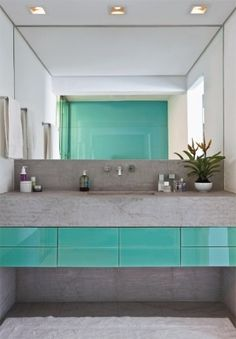 Bathroom by leonie van der linde. Lovely turquoise and grey colours. #vanity #bathroom #turquoise #grey