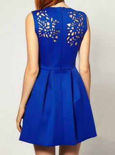 Blue Sleeveless Asymmetrical Hollow Pleated Dress - Sheinside.com