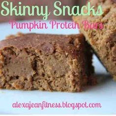 ***DELISH!....replaced the xylitol with a little less than 1/4 cup brown sugar and honey...applesauce instead of baby food, 4 scoops protein powder and 2Tbs-1/4 cup almond milk. Nutrition facts: 97 calories and 5g protein per bar***...Alexa Jean: Skinny Snacks - Pumpkin Protein Bars