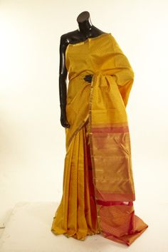 Kancheepuram, Kanjipuram- silk dark mustard saree with blouse