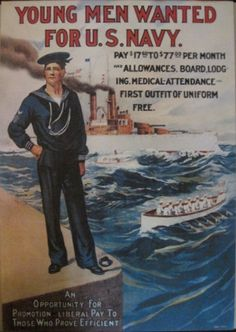 Historical US Navy recruitment posters: USA Naval History recruiting art images: Pre 1900 to World War I & II - including Women in the Navy, and African-American join the Navy picture poster Go Navy, Navy Mom, Us Navy Recruiting, Joining The Navy, Pin Up, Navy Life, Navy Military, Military Uniforms, Military Art