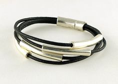 Multistrand Silver Tube Black Leather Bracelet by siriousdesign