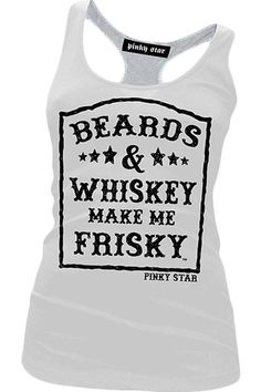 Pinky Star Women's Beards And Whiskey Racerback Tank Top - Black