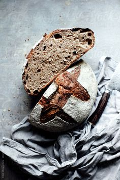 ... homemade whole grain sourdough bread ...