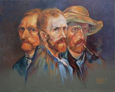 All faces of the genius 6 - Original Oil painting Figurative art artwork #Realism