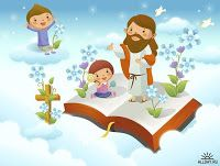Imagens Fofas - Jesus e as Crianças Bible Illustrations, Church Nursery, Bakery Logo, Lord Is My Shepherd, Holy Quotes, Royalty Free Pictures, Sunday School, Tinkerbell, Catholic