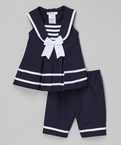 Look at this #zulilyfind! Navy Nautical Tank & Capri Pants - Infant, Toddler & Girls #zulilyfinds