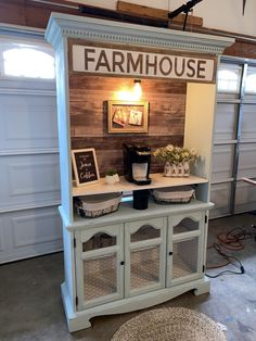 This was an old china hutch that I repurposed into a coffee station! I love farmhouse style furniture so this piece turned out better than I expected. Refurbished Furniture, Paint Furniture, Repurposed Furniture, Furniture Projects, Furniture Makeover, Home Furniture, Refurbished Hutch, Bar Armoire, Coffee Bar Home