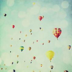 Ballooning - 8x8 fine art photo, print, hot air balloons, turquoise blue sky, nursery art, vintage, home decor. Buy one get one free sale via Etsy