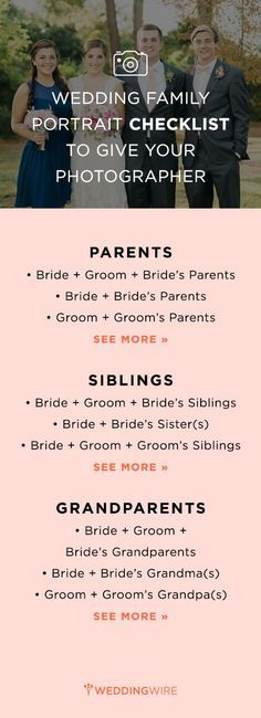 Not sure who to include in your wedding photos? We have done the hard work for you! Make sure you give your photographer this checklist so all your loved ones are captured!