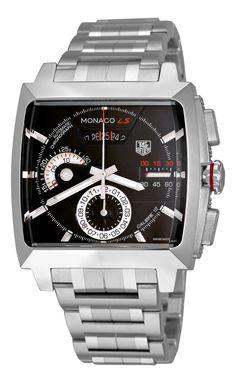 b48c553ba04 TAG Heuer Men s CAL2110.BA0781 Monaco Black Dial Watch Nike Watch