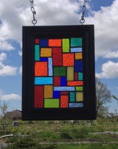 Rainbow Stained Glass Suncatcher - Mondrian Stained glass mosaic suncatcher - Square Rainbow glass mosaic panel - window hanging home decor by NiagaraGlassMosaics on Etsy