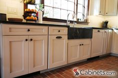 Colonial Farmhouse Kitchen with Brick Floor Kitchen Redo, Kitchen Cabinets, Brick Floor Kitchen, Discount Cabinets, Cabinet Companies, Brick Flooring, Colonial, House Plans, Photo Galleries