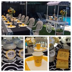 #TableSettingIsMyLife: Tour de France 2015 French Brunch, Bicycling theme, Sunflower Centerpiece