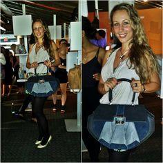 Creative Director Anya Sushko at the IHDA Awards in New York with the nominated 'Deco Dame Bag'.