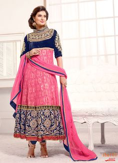 Share to get 5% OFF on your order New Arrival Pink And Navyblue Long Anarkali Suit #FleAffair