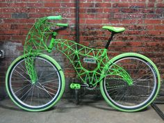 Art Bike  Chris Beech  Full scale working bicycle made from steel rods, powdercoated green